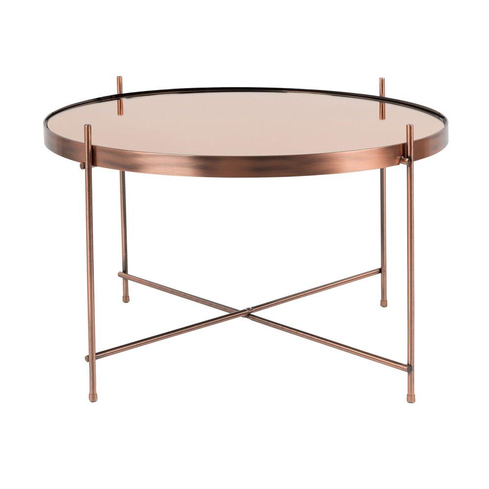 Table basse - Table basse ronde 62,5 cm en verre et métal cuivré - CUPID photo 1
