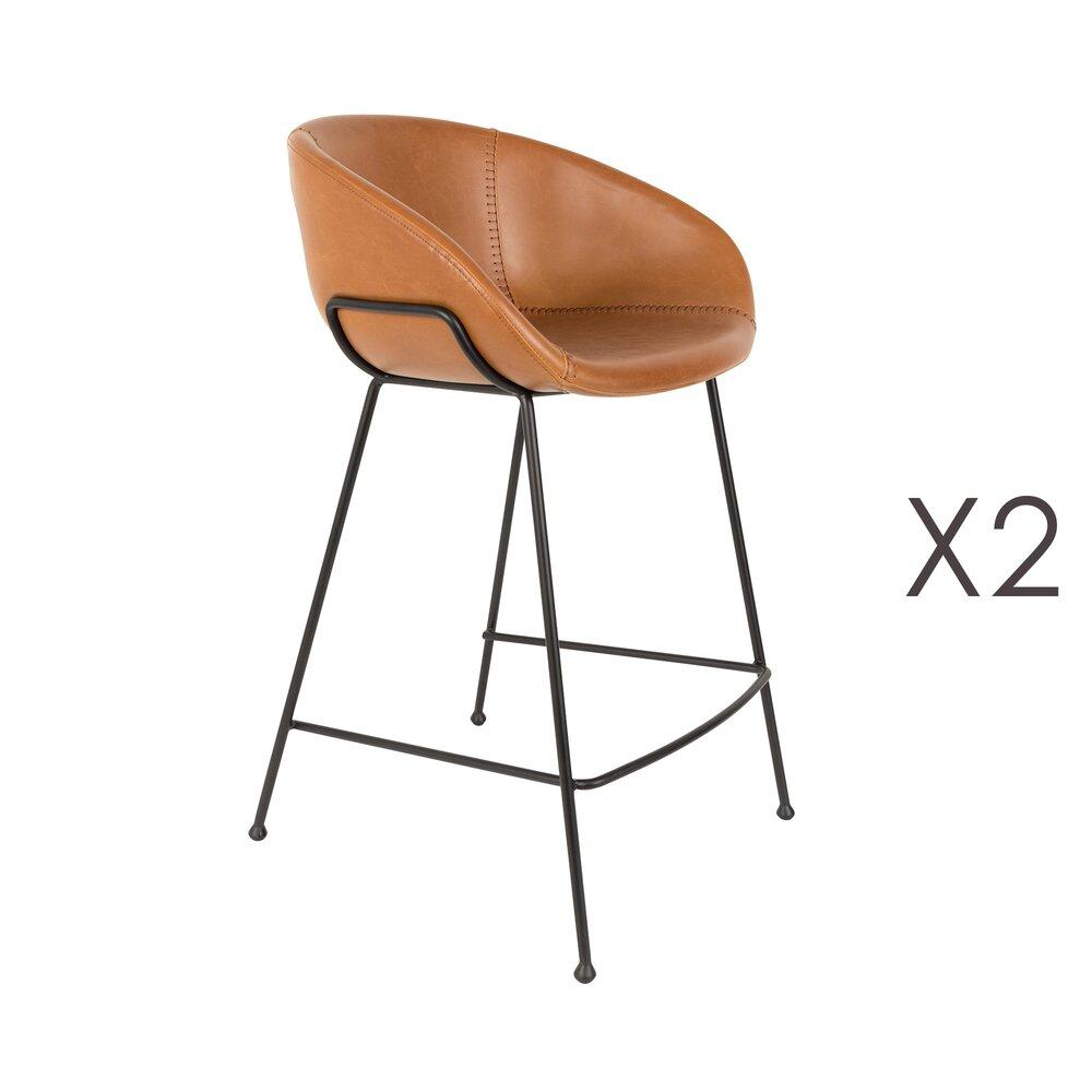 Tabouret de bar - Lot de 2 chaises de bar H65 cm en PU marron - FESTON photo 1