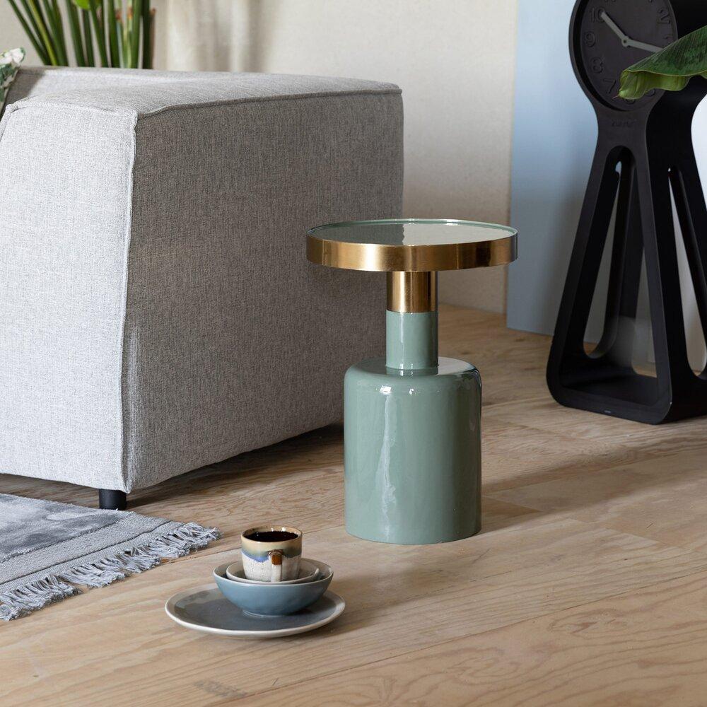 Table basse - Table d'appoint ronde 36x51 cm en métal vert - GLAM photo 1