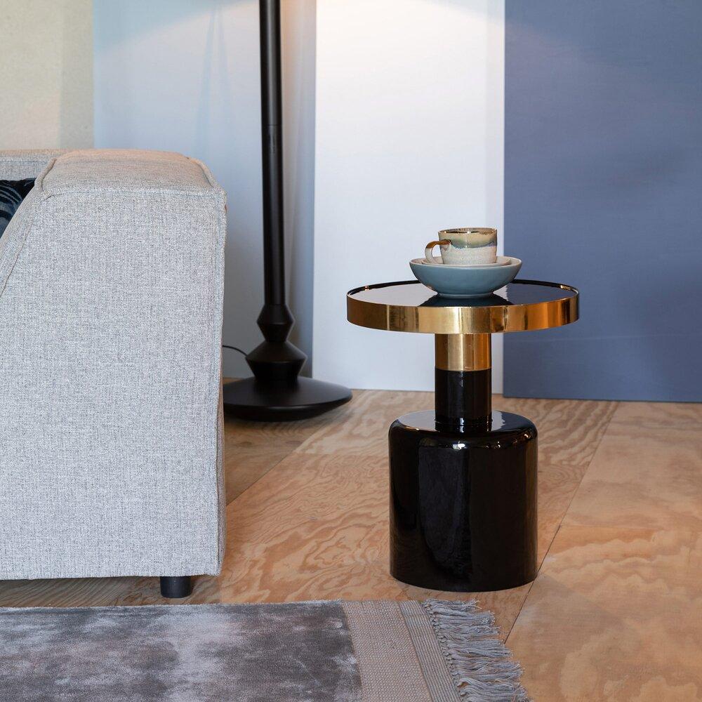 Table basse - Table d'appoint ronde 36x51 cm en métal noir - GLAM photo 1