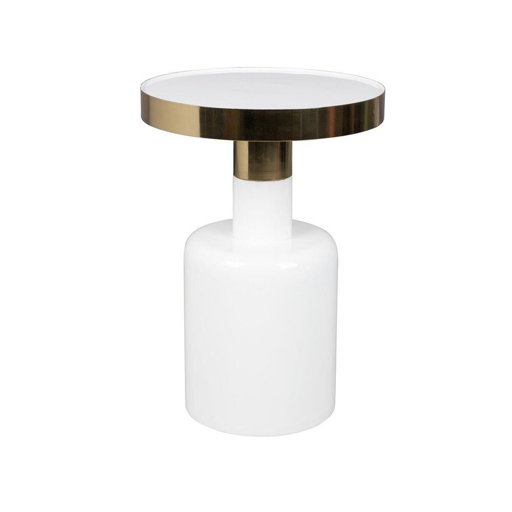 Table basse - Table d'appoint ronde 36x51 cm en métal blanc - GLAM photo 1