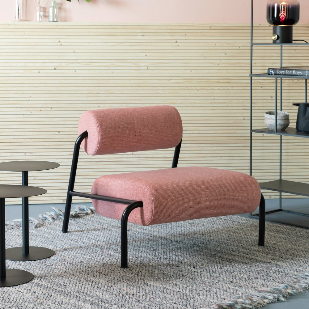 Fauteuil - Fauteuil lounge 87x93x70 cm en tissu rose photo 1