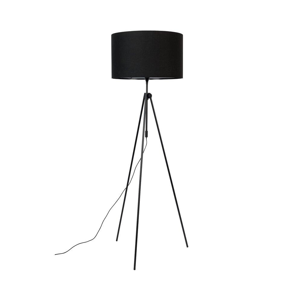 Luminaire - Lampadaire 50x153/181 cm en tissu noir et pieds métal - LESLEY photo 1
