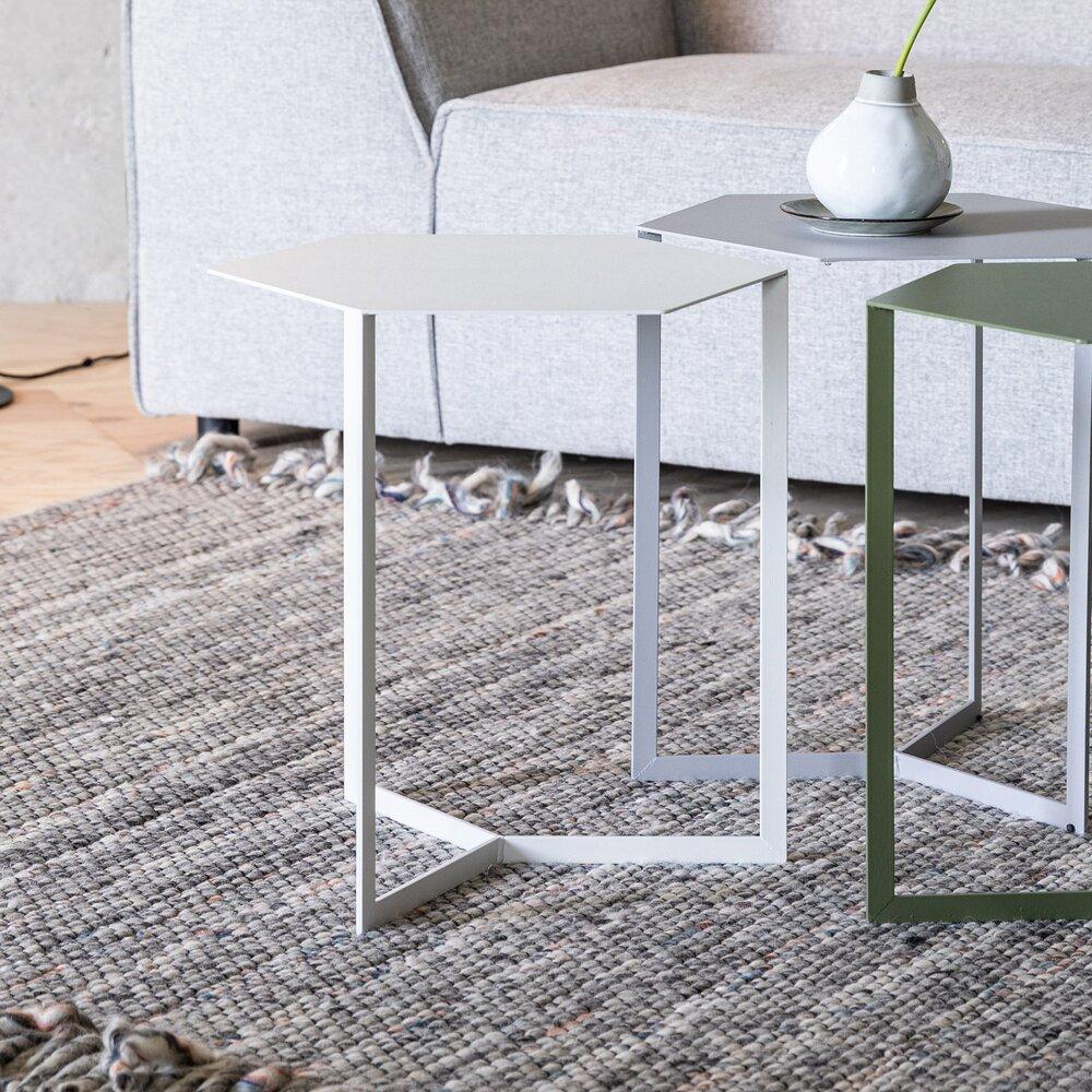 Table basse - Table d'appoint 38x45x45 cm en métal blanc - MATRIX photo 1