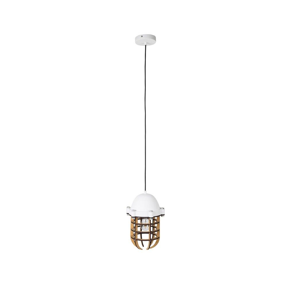 Luminaire - Suspension 22,5x165 cm en bois et métal blanc photo 1