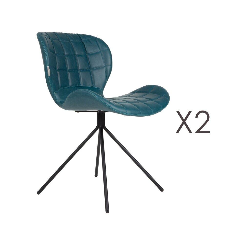 Chaise - Lot de 2 chaises vintage en PU bleu - OMG photo 1