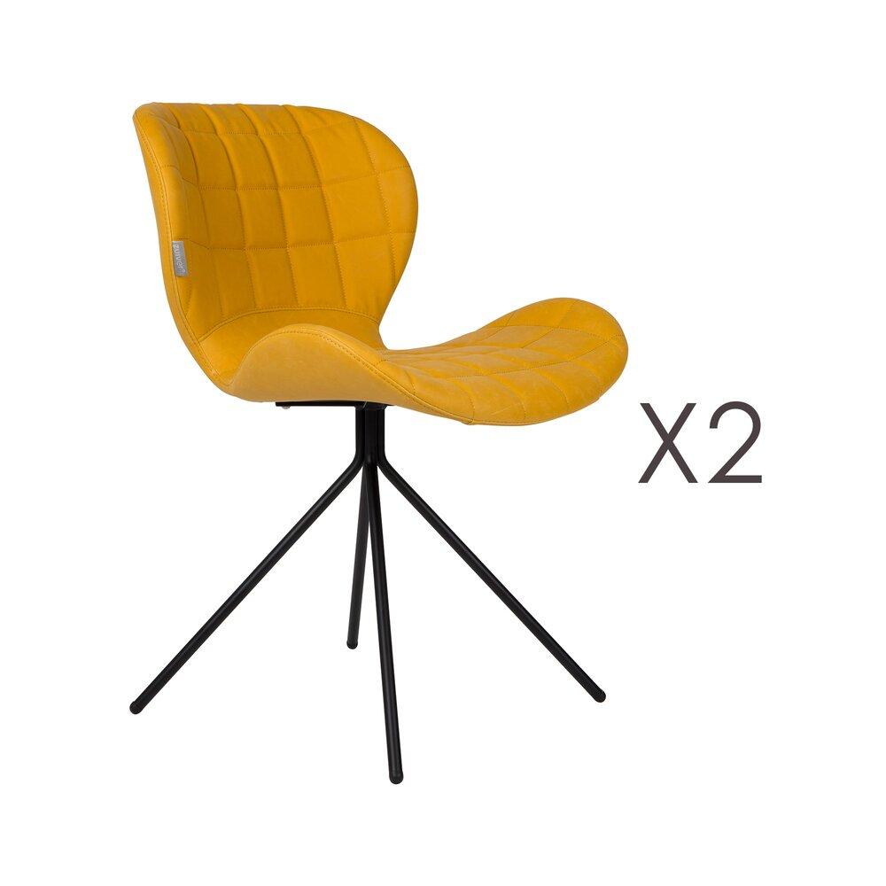 Chaise - Lot de 2 chaises vintage en PU jaune - OMG photo 1