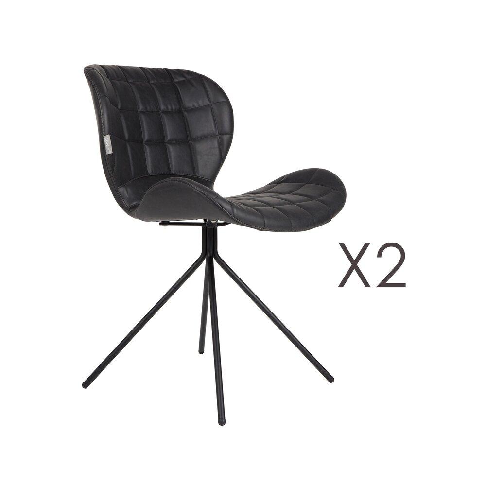 Chaise - Lot de 2 chaises vintage en PU noir - OMG photo 1