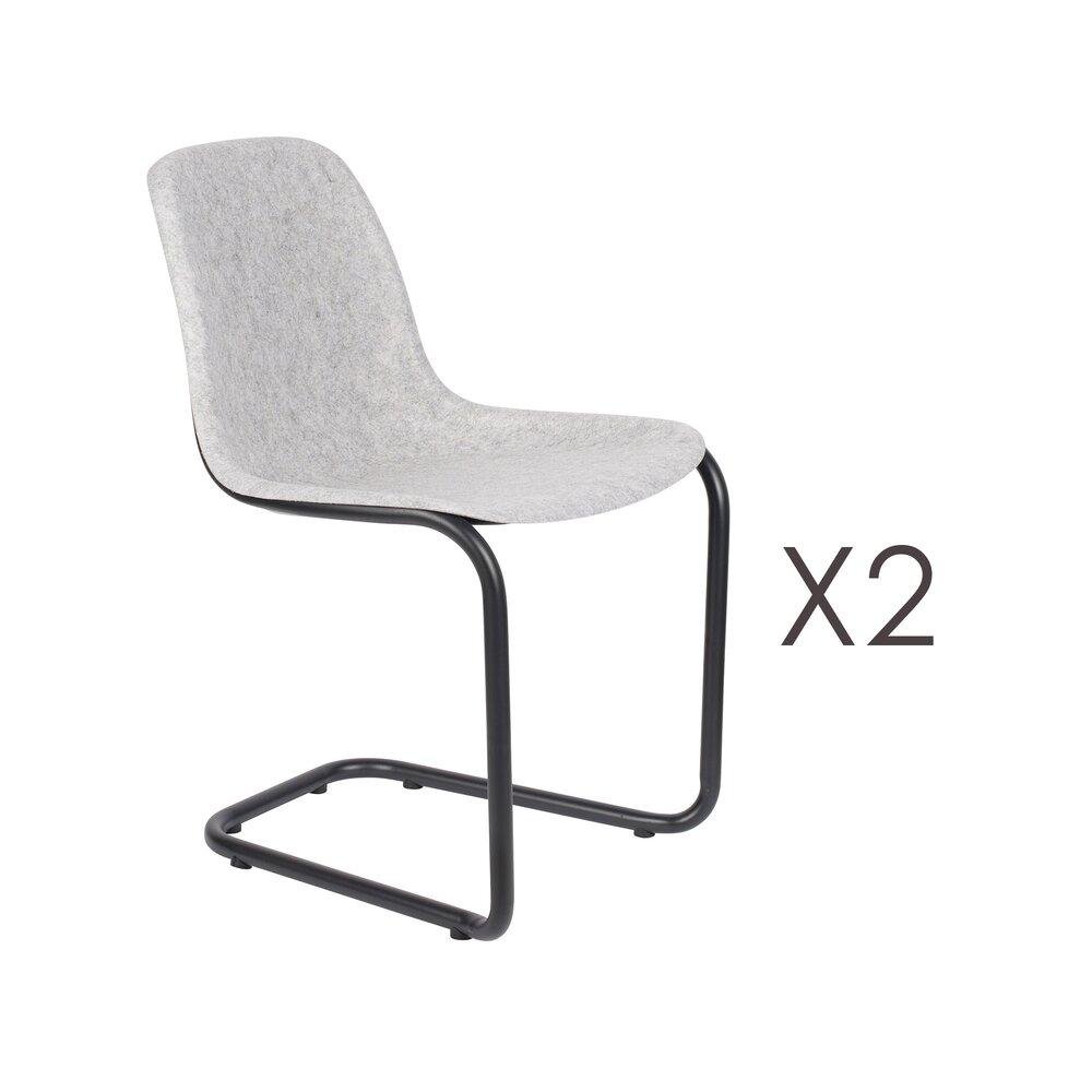 Chaise - Lot de 2 chaises 52x55x78,5 cm gris clair - THIRSTY photo 1