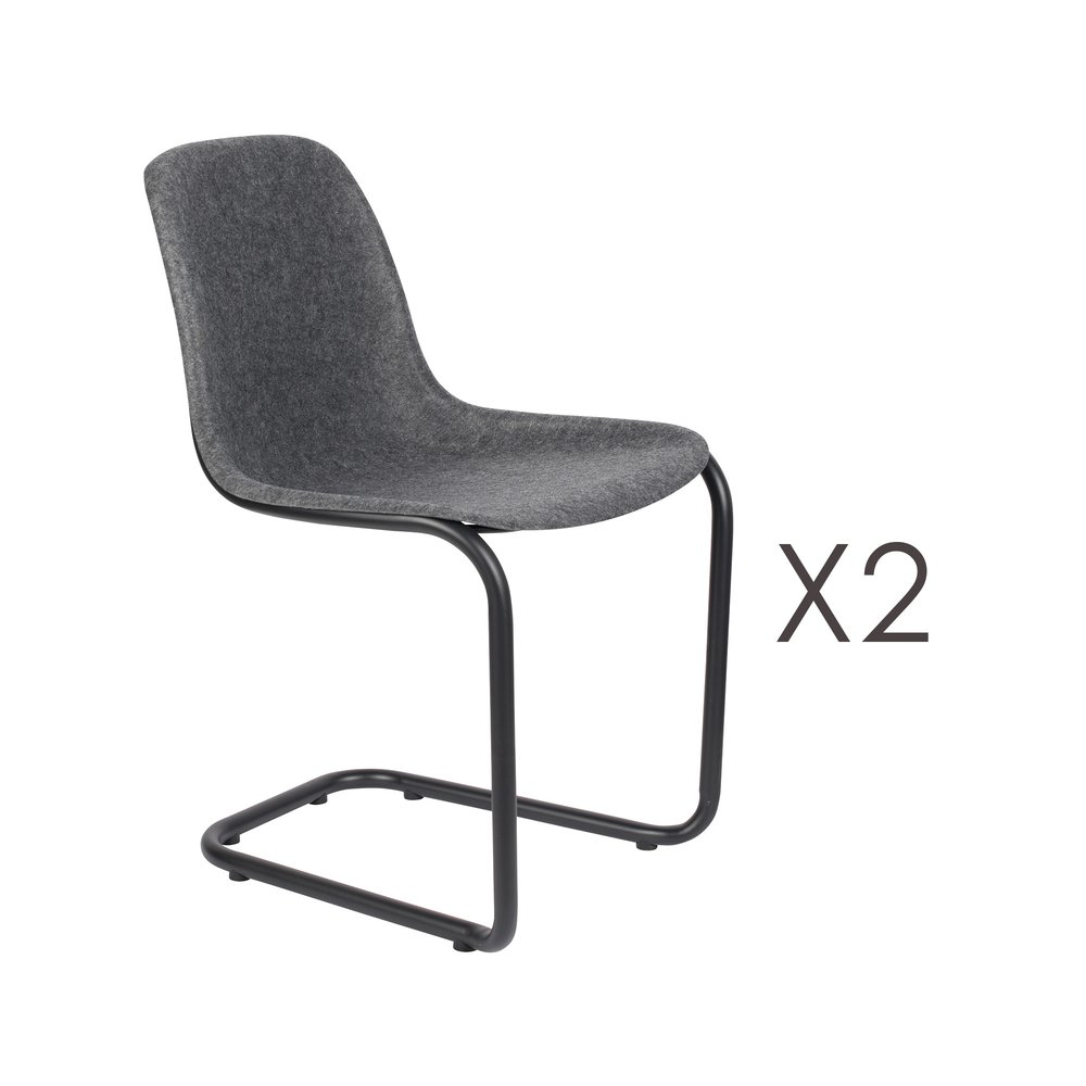 Chaise - Lot de 2 chaises 52x55x78,5 cm gris foncé - THIRSTY photo 1