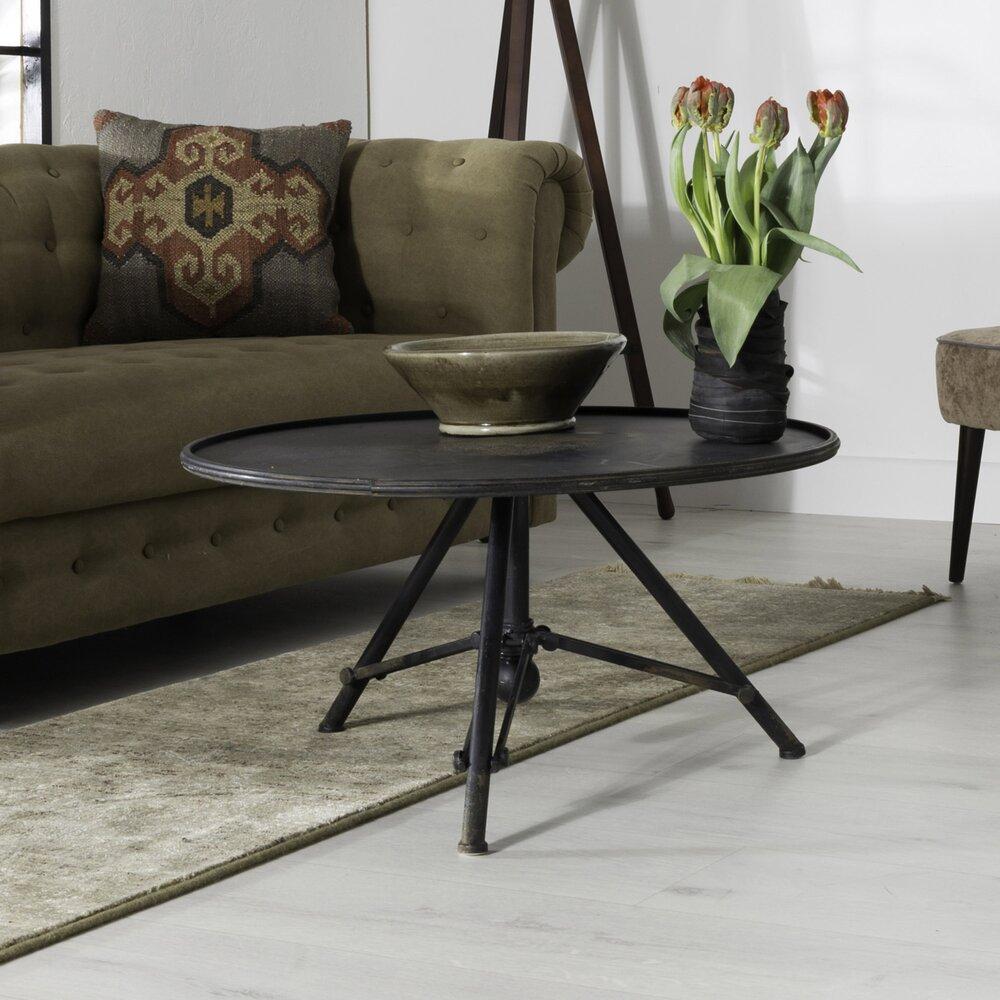 Table basse - Table basse ronde 78x40 cm en métal noir vintage photo 1