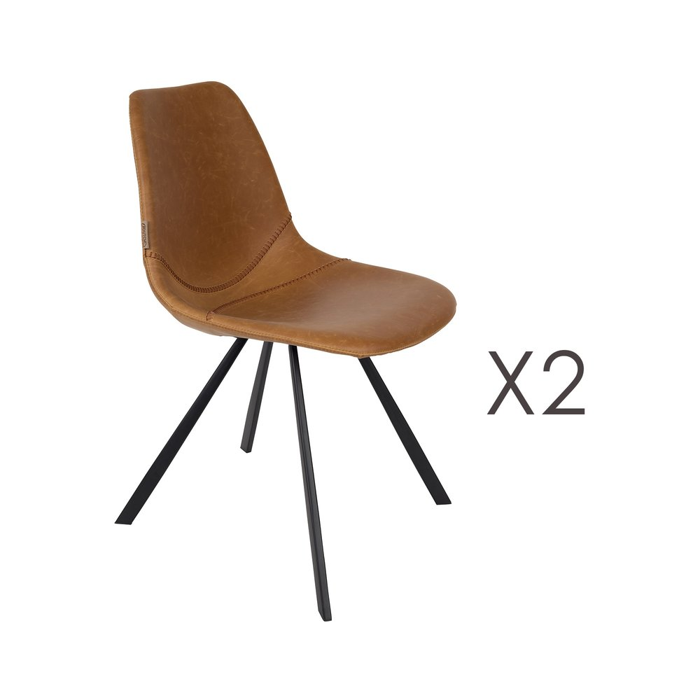 Chaise - Lot de 2 chaises 46x56x83 cm en PU marron - FRANKY photo 1
