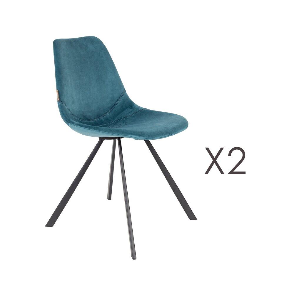 Chaise - Lot de 2 chaises 46x56x83 cm en velours bleu - FRANKY photo 1