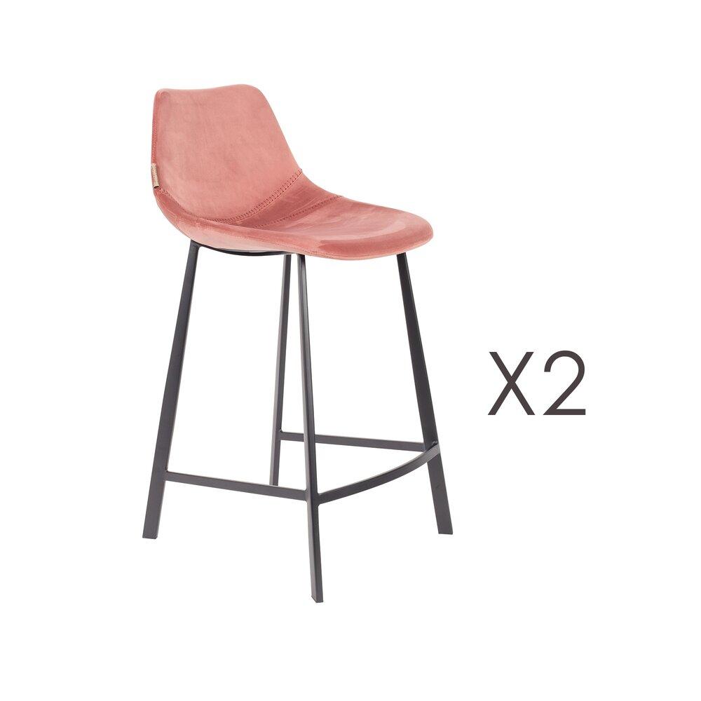 Tabouret de bar - Lot de 2 chaises de bar H65 cm en velours rose - FRANKY photo 1
