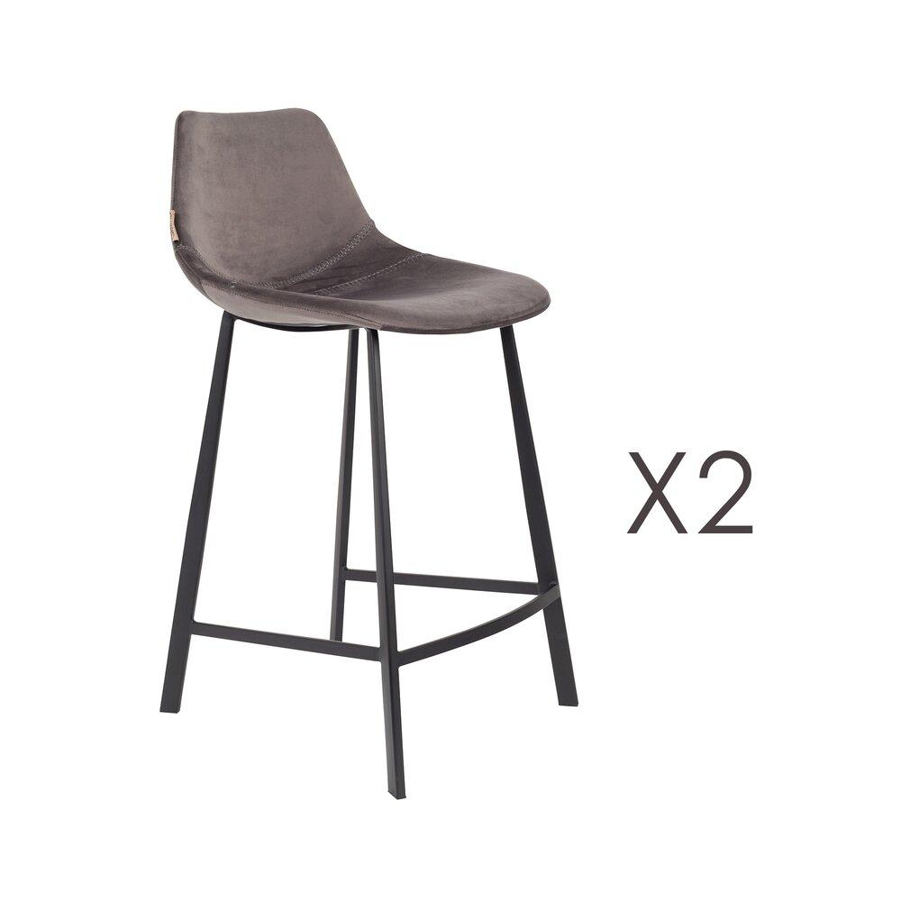 Tabouret de bar - Lot de 2 chaises de bar H65 cm en velours gris - FRANKY photo 1