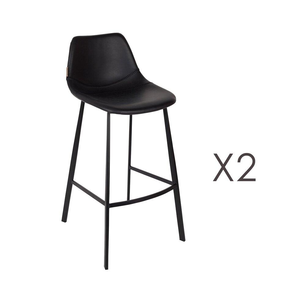 Tabouret de bar - Lot de 2 chaises de bar H80 cm en PU noir - FRANKY photo 1