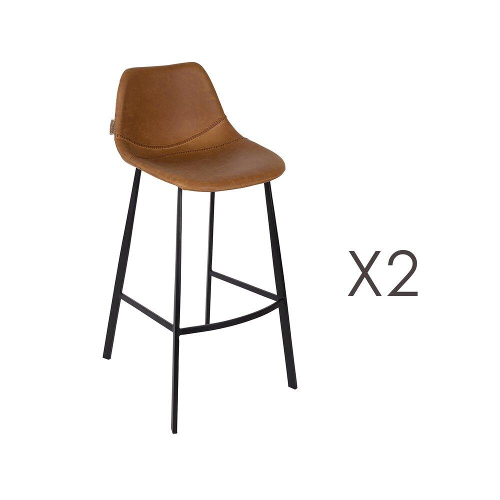 Tabouret de bar - Lot de 2 chaises de bar H80 cm en PU marron - FRANKY photo 1