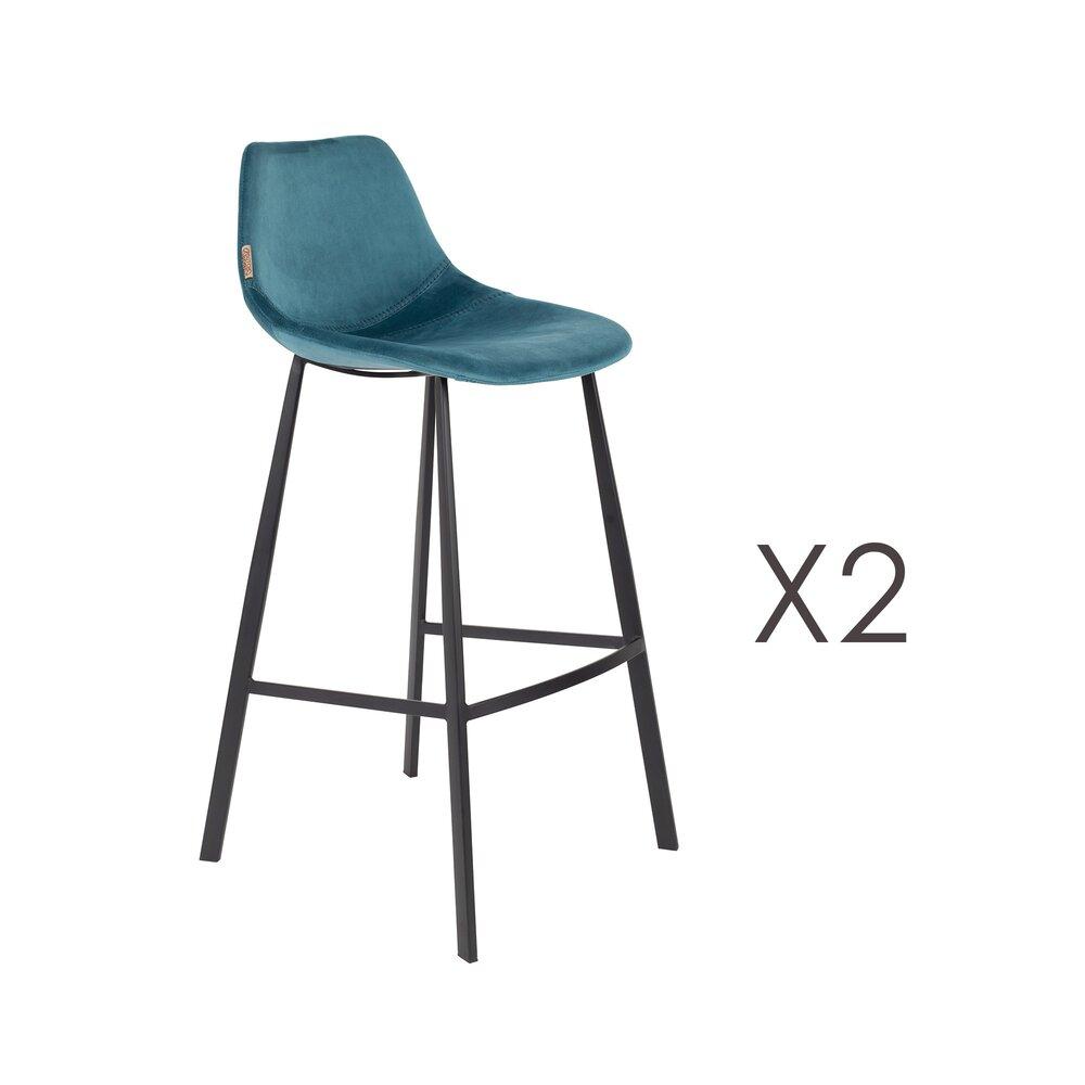 Tabouret de bar - Lot de 2 chaises de bar H80 cm en velours bleu - FRANKY photo 1