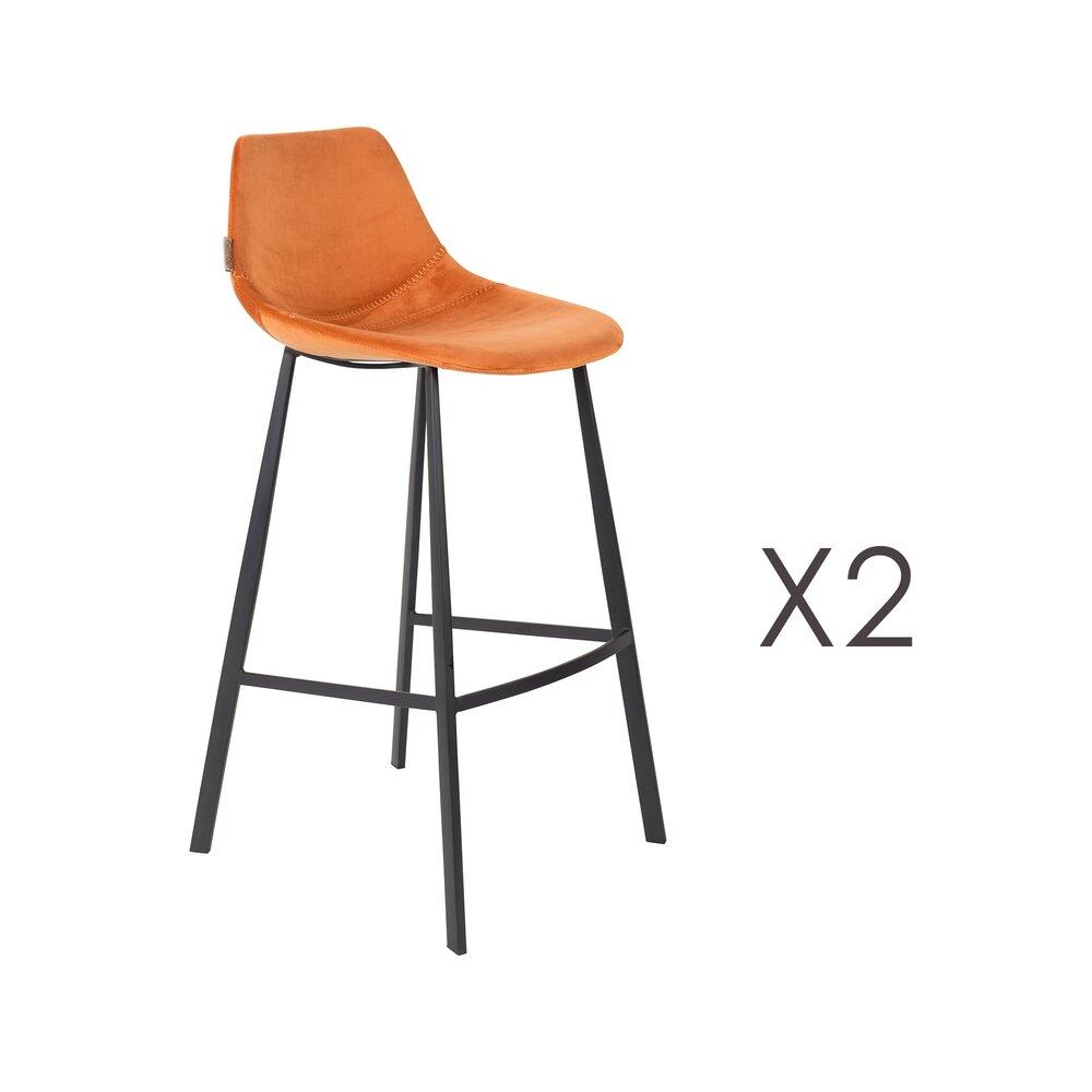 Tabouret de bar - Lot de 2 chaises de bar H80 cm en velours orange - FRANKY photo 1