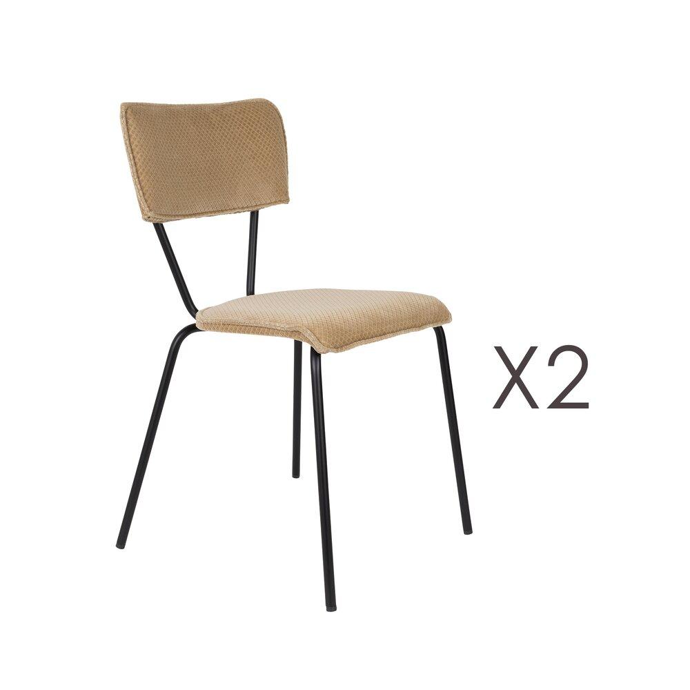 Chaise - Lot de 2 chaises 51x54x81,5 cm en tissu beige - MELONIE photo 1