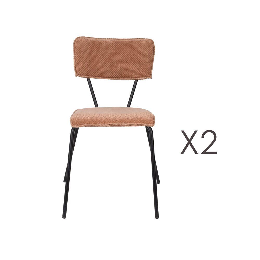 Chaise - Lot de 2 chaises 51x54x81,5 cm en tissu rose - MELONIE photo 1
