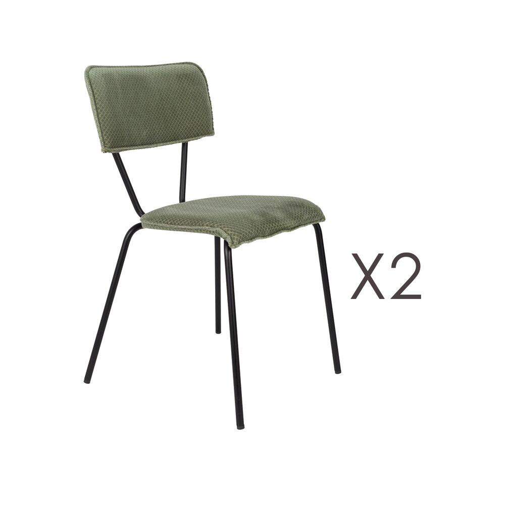 Chaise - Lot de 2 chaises 51x54x81,5 cm en tissu vert foncé - MELONIE photo 1