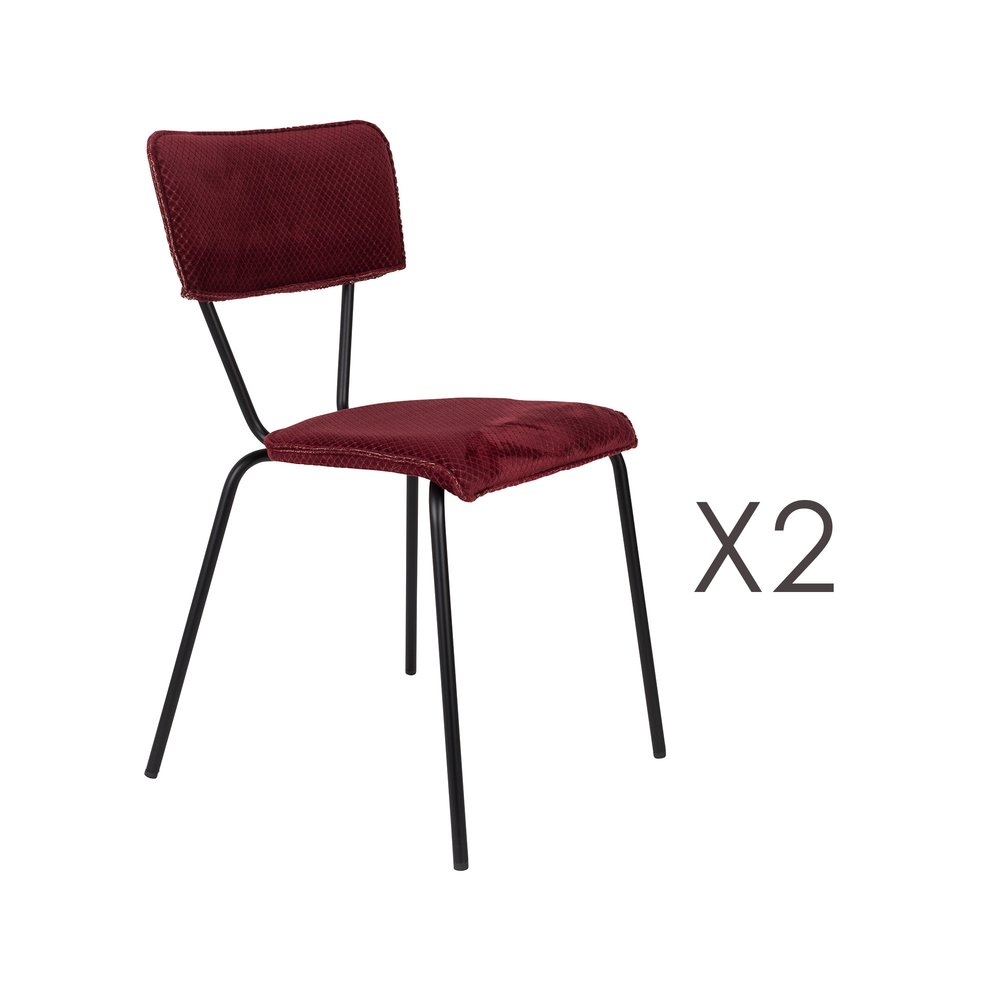 Chaise - Lot de 2 chaises 51x54x81,5 cm en tissu bordeaux - MELONIE photo 1