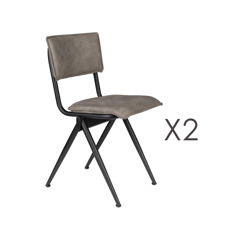 Chaise - Lot de 2 chaises 39,5x54,5x82,5 cm en PU gris - WILLOW photo 1