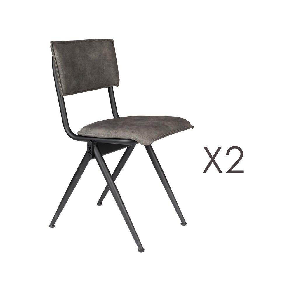 Chaise - Lot de 2 chaises 39,5x54,5x82,5 cm en PU anthracite - WILLOW photo 1