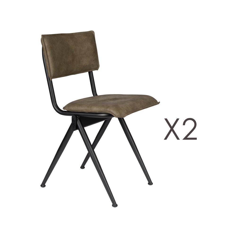 Chaise - Lot de 2 chaises 39,5x54,5x82,5 cm en PU marron - WILLOW photo 1