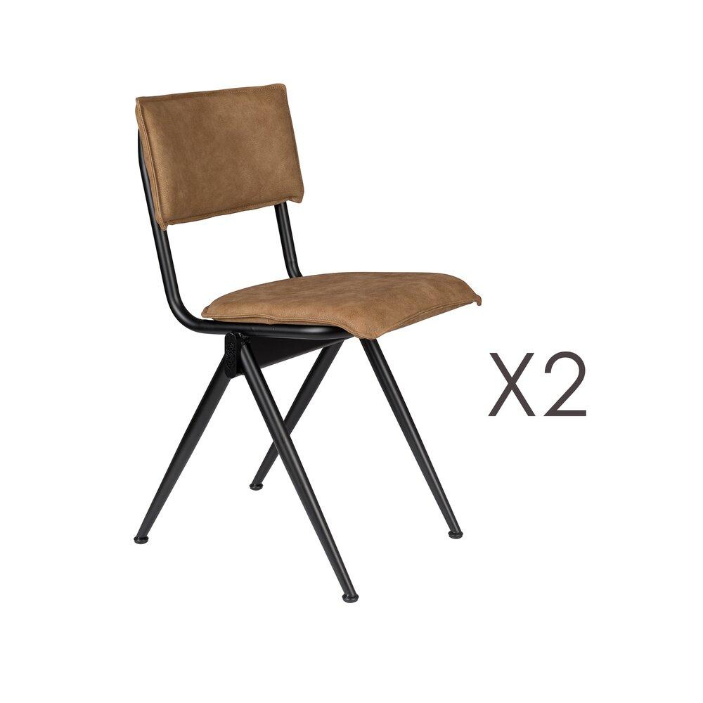 Chaise - Lot de 2 chaises 39,5x54,5x82,5 cm en PU marron clair - WILLOW photo 1