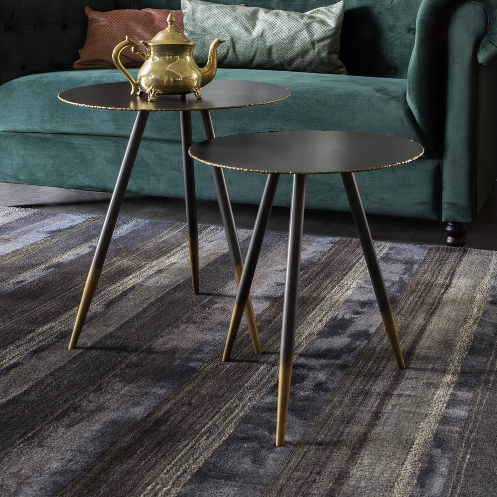 Table basse - Lot de 2 tables d'appoint rondes 45 et 40 cm finition bronze et doré photo 1