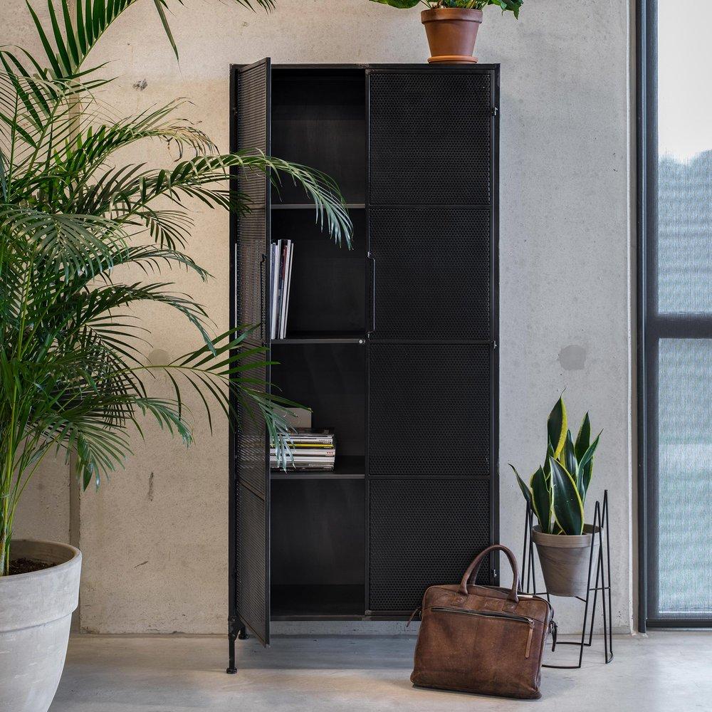 Armoire - Armoire industrielle 2 portes 80xx40x180 cm en métal noir vieilli photo 1