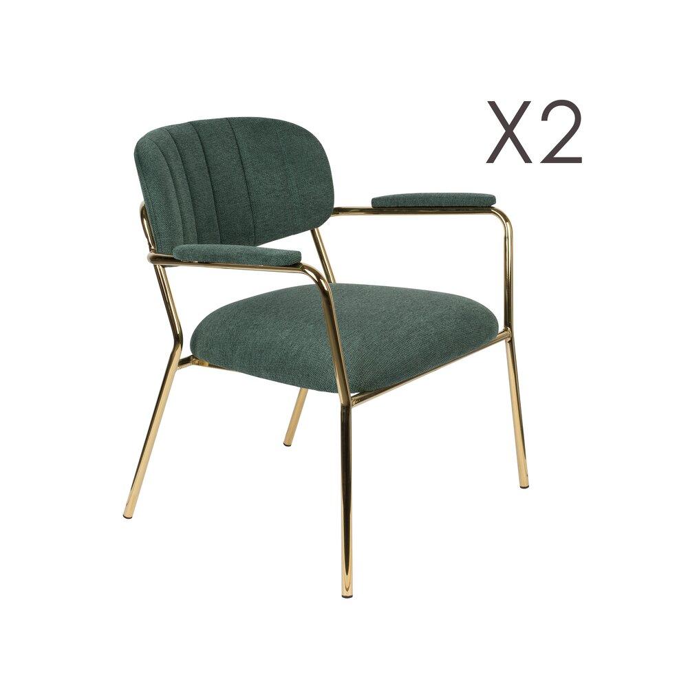 Chaise - Lot de 2 chaises 69,5x61x73 cm en tissu vert foncé - JULIEN photo 1