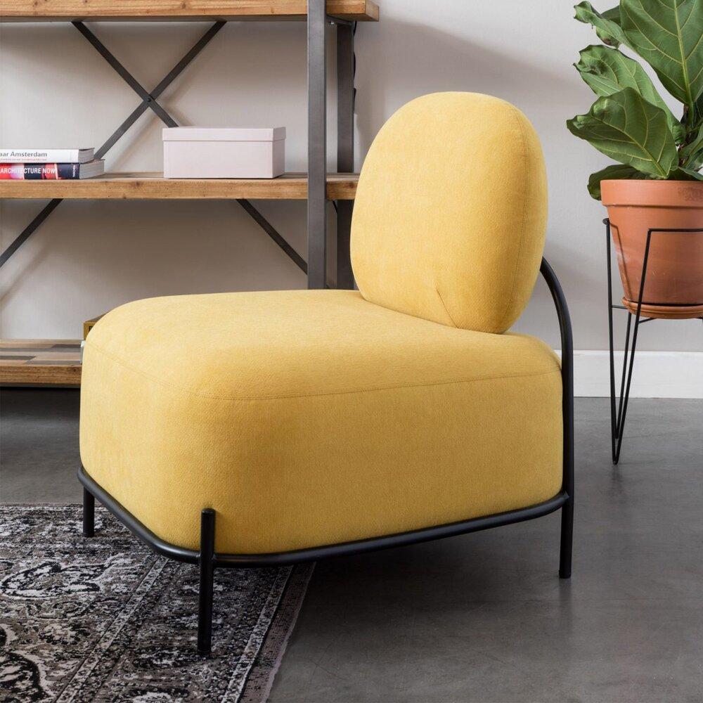 Fauteuil - Fauteuil 66x71,5x77 cm en tissu jaune - CELLO photo 1