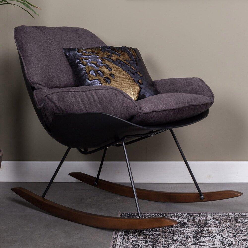 Fauteuil - Fauteuil à bascule 76x98x84 cm en tissu gris foncé photo 1