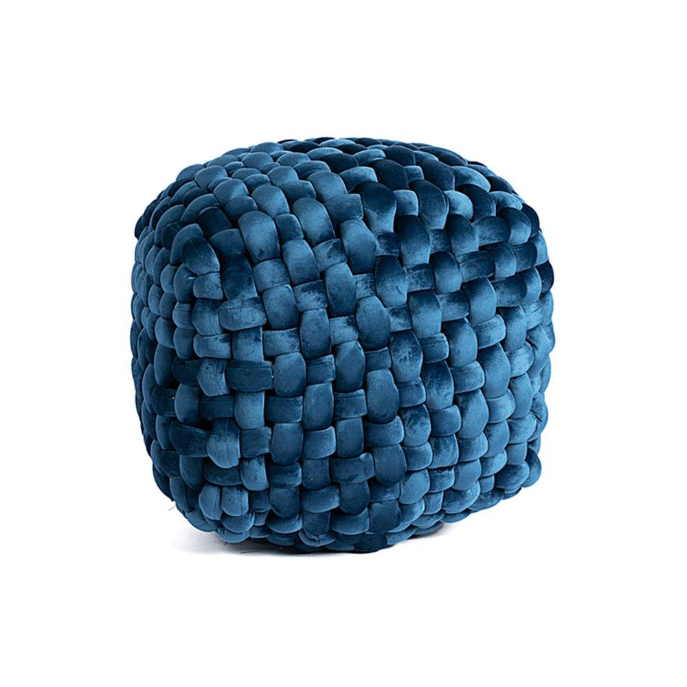 Pouf - Pouf 40x45 cm en tissu velours noué bleu - KNOW photo 1