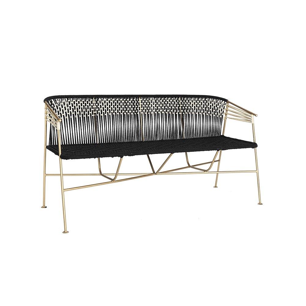 Canapé - Canapé 3 places 150 cm en corde noir et métal laiton photo 1