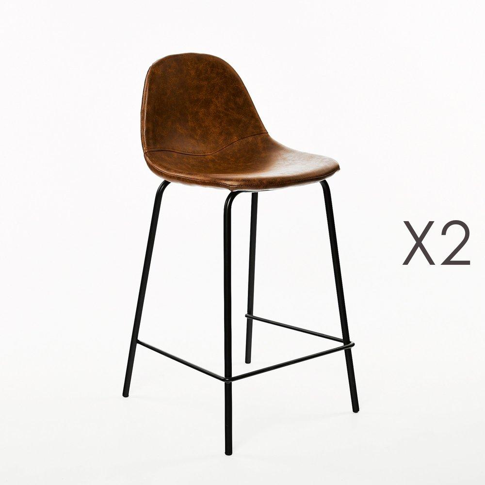 Tabouret de bar - Lot de 2 chaises de bar 45x45x102 cm en PU marron photo 1
