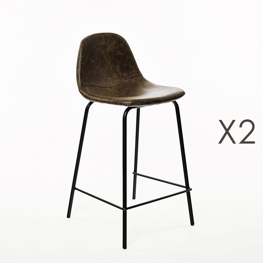 Tabouret de bar - Lot de 2 chaises de bar 45x45x102 cm en PU brun photo 1