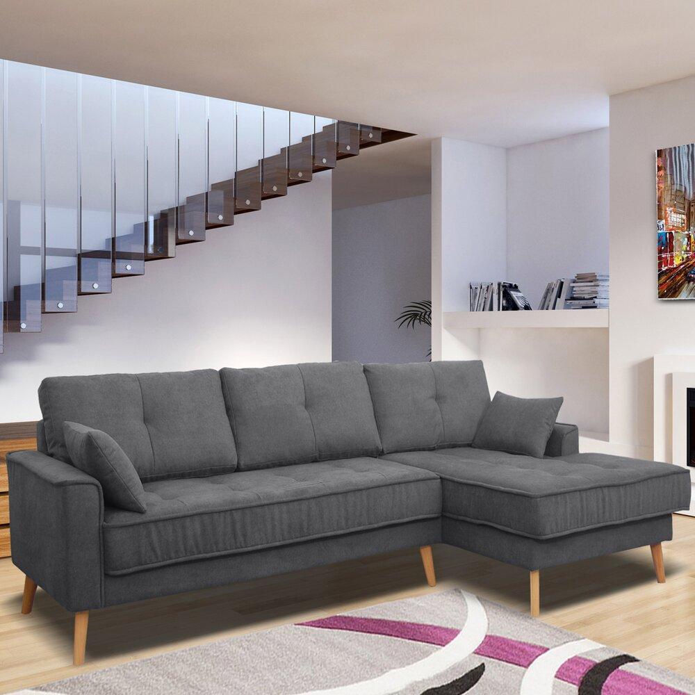Canapé - Canapé d'angle à droite fixe en tissu gris foncé - EDEA photo 1