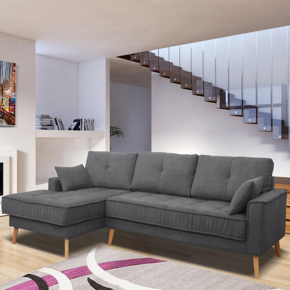 Canapé - Canapé d'angle à gauche fixe en tissu gris foncé - EDEA photo 1