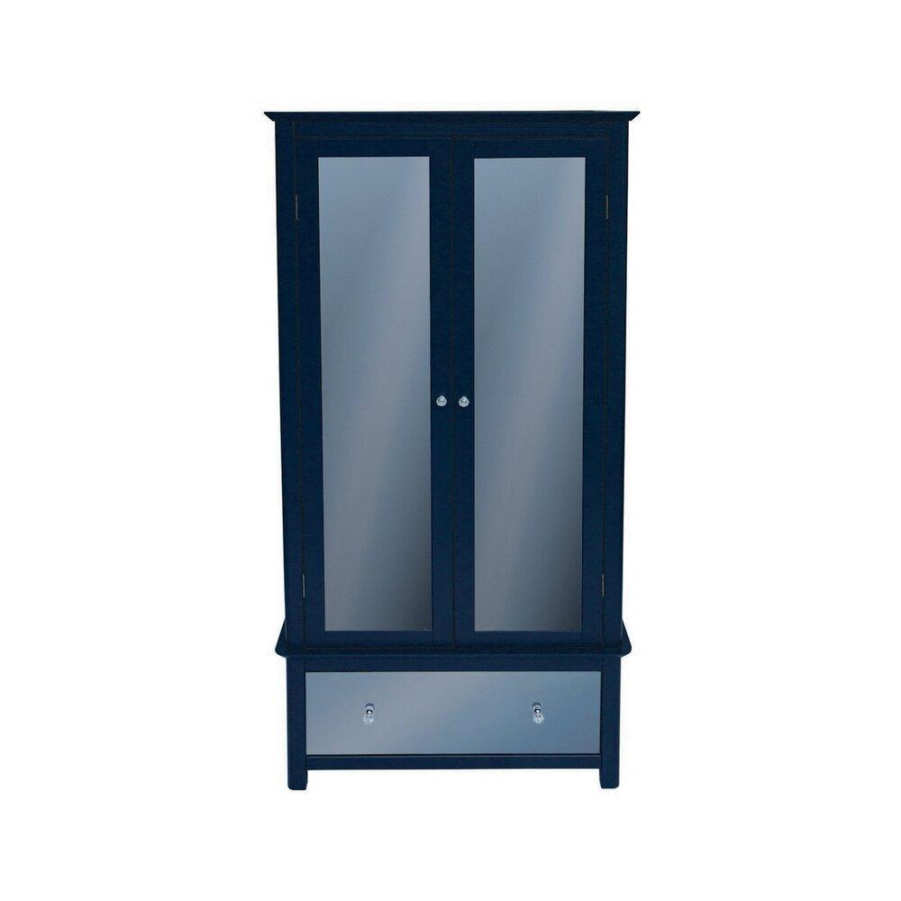 Armoire - Armoire 2 portes et 1 tiroirs en verre et bois gris foncé - TOMAS photo 1