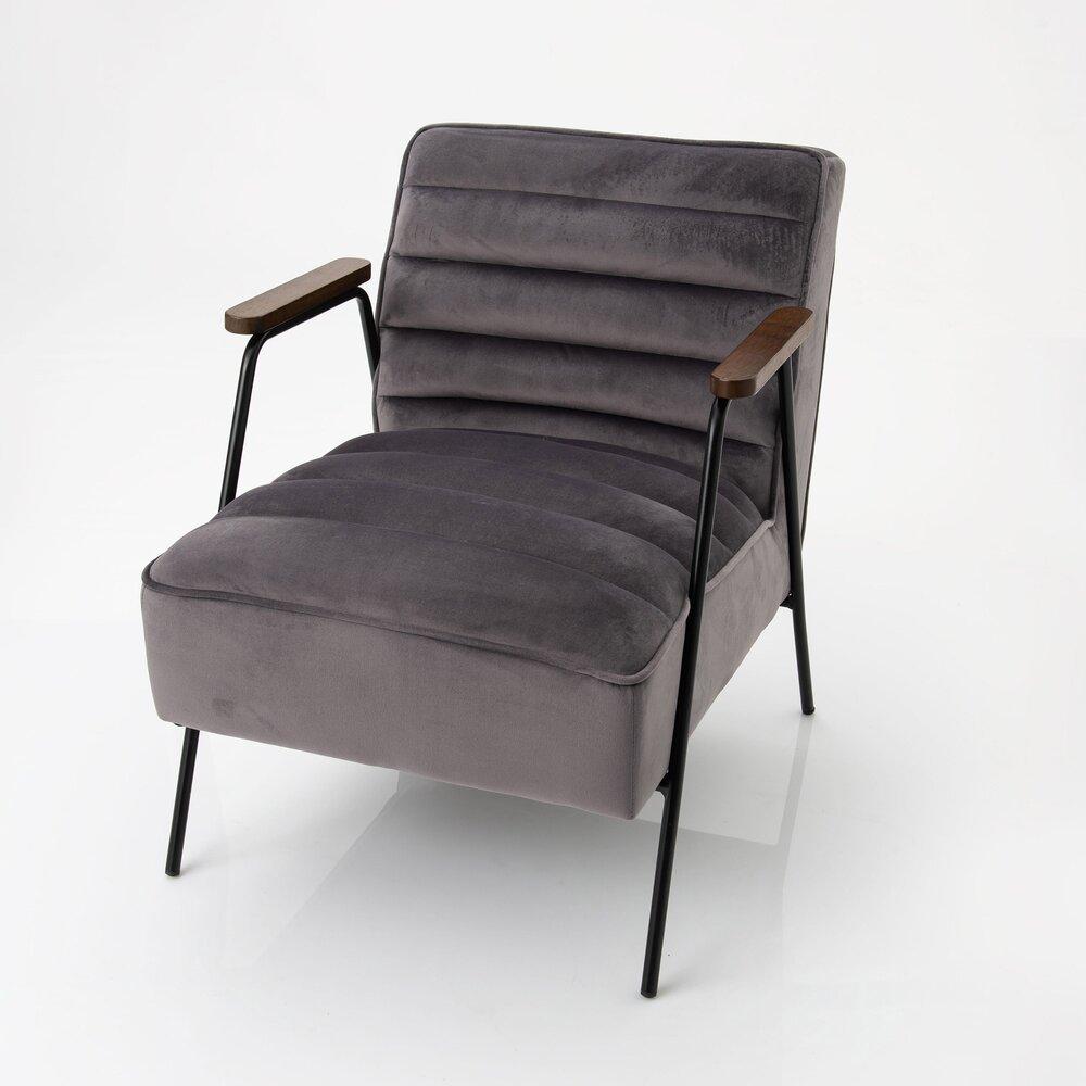Fauteuil - Fauteuil 60x76x73 cm en tissu velours gris foncé photo 1