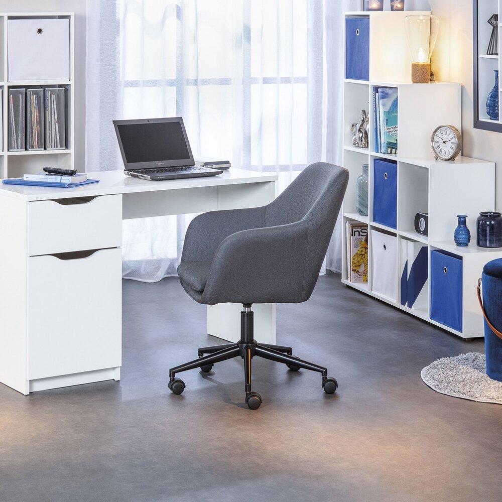 Fauteuil de bureau - Chaise de bureau à roulettes 61,5x63x83,5/91 cm grise photo 1