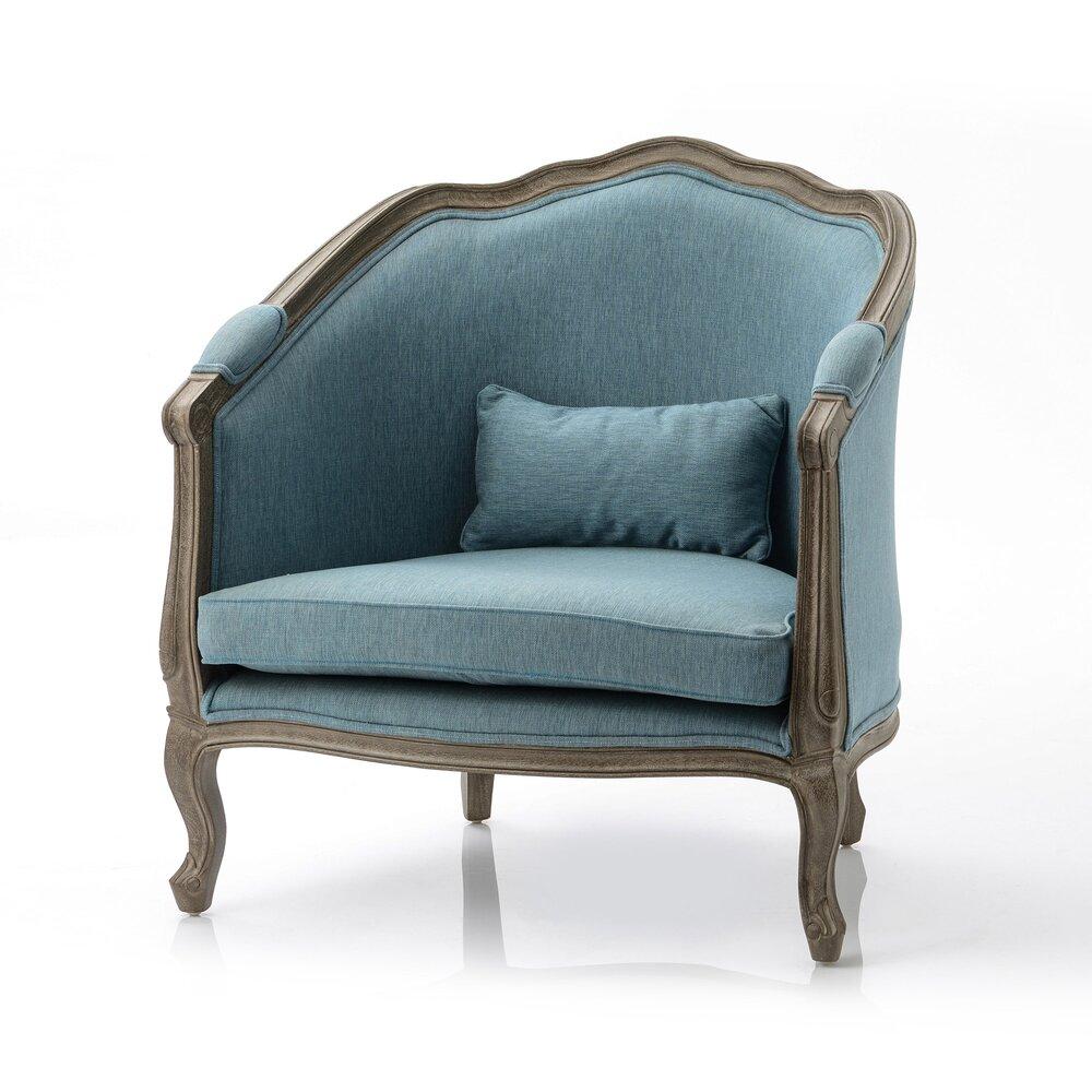 Canapé - Cabriolet ancien 85x70x91 cm en lin bleu photo 1