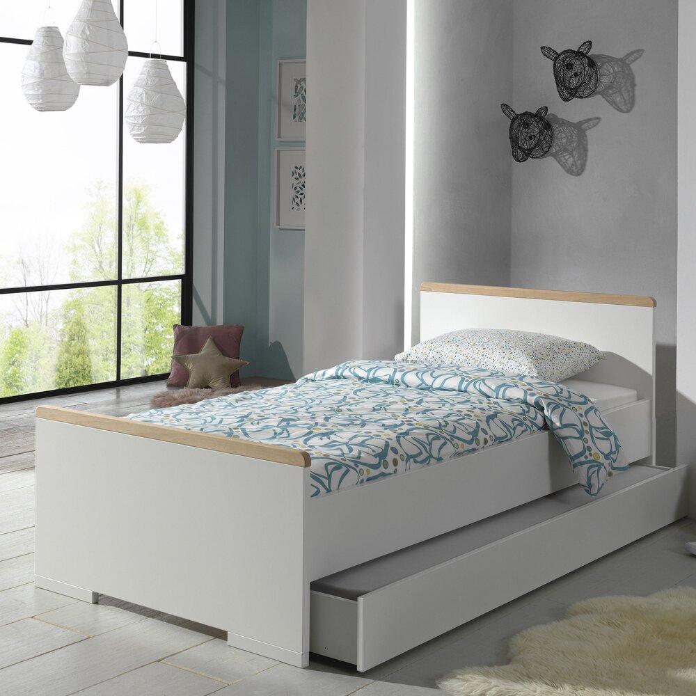Lit enfant - Lit 1 place 90x200 cm avec tiroir blanc et naturel - BILLY photo 1