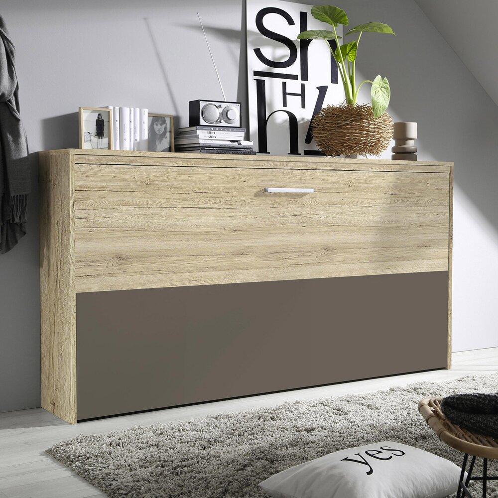 Lit escamotable - Lit escamotable 90x200 cm décor chêne et demie façade chocolat photo 1
