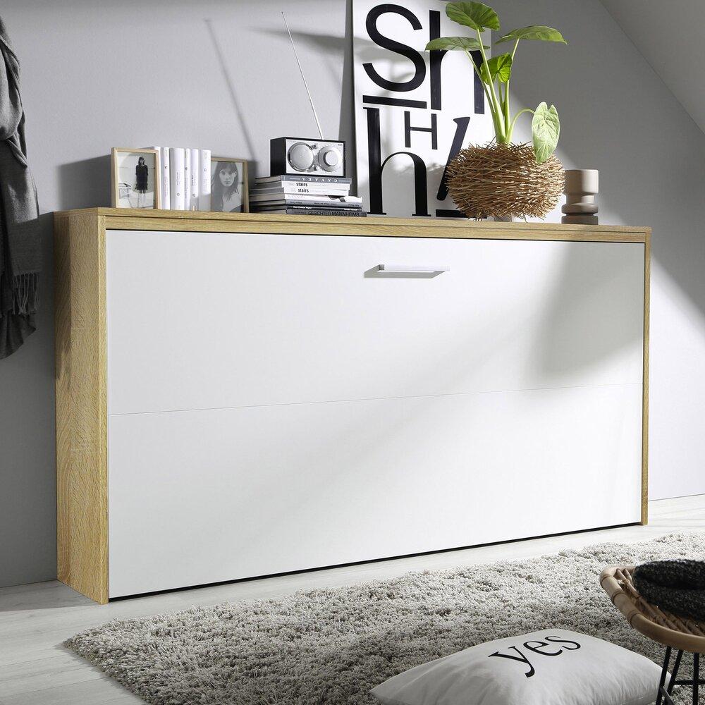 Lit escamotable - Lit escamotable 90x200 cm décor chêne sonoma et façade blanche photo 1