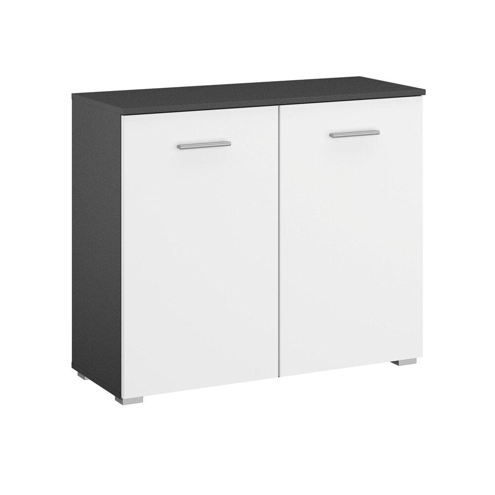 Commode - Coiffeuse - Commode 2 portes gris foncé et blanc - ATTIS photo 1